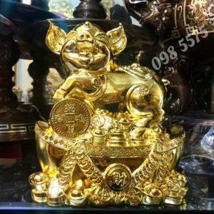 lợn đồng mạ vàng phong thủy - ĐPT7